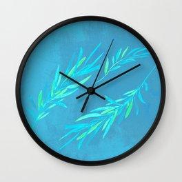 Eucalyptus leaves blue Wall Clock