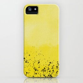 Abstract background with speckles - yellow and black iPhone Case