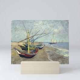Fishing Boats on the Beach by Vincent van Gogh Mini Art Print