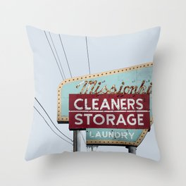 Vintage Neon Sign - Mission Hill - Kansas City Throw Pillow