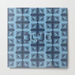 Blue diamond pattern on neon grid Metal Print