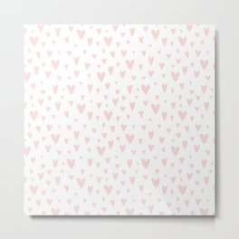 Blush pink white handdrawn watercolor romantic hearts pattern Metal Print