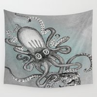 kraken Wall Tapestries featuring The Kraken  by Renatta Maniski-Luke