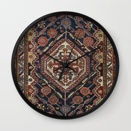 Persian Qashqai Old Century Authentic Colorful Aztec Royal Blue Red Vintage Patterns Wall Clock