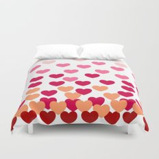 Heart Drops -pink Duvet Cover