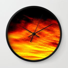 Black Yellow Red Sunset Wall Clock