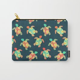 Cute Flower Child Hippy Turtles Carry-All Pouch