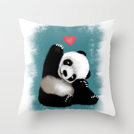 Panda Love (Color) Throw Pillow