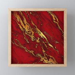Chic Elegant Fire Red Ombre Glitter Marble Framed Mini Art Print