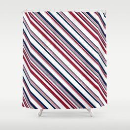 Red and Blue Stripes Shower Curtain
