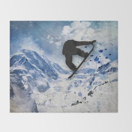 Snowboarder In Flight Throw Blanket