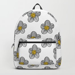 Mod Striped Flower Illustrated Pattern in Black, White, and Yellow Backpack
