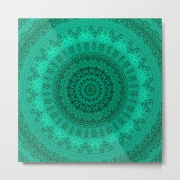 Forest Green Detailed Mandala Metal Print