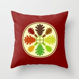 Mighty Oak Folk Art Hex Sign Throw Pillow