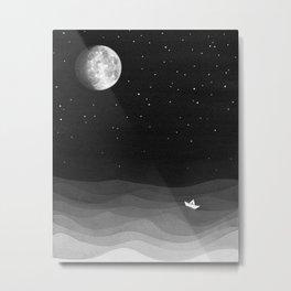Moon phase, black and white, ocean Metal Print