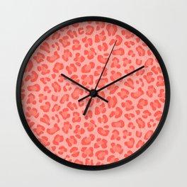 Leopard - Living Coral Wall Clock