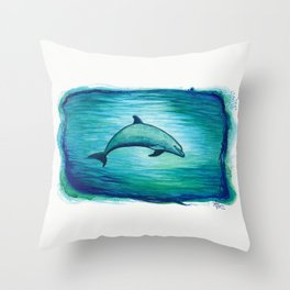 """Indigo Lagoon"" by Amber Marine ~ Watercolor Dolphin Painting, (Copyright 2015) Throw Pillow"