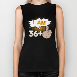 I Am 36 Plus Middle Finger 37th Birthday Biker Tank