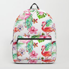 Hand painted blush pink coral watercolor tropical flamingo floral Backpack