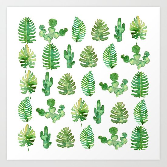tropical leaves and cactus Art Print