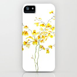 yellow Oncidium Orchid watercolor iPhone Case