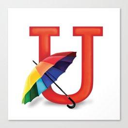 U is for Umbrella Canvas Print