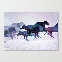 running Canvas Prints featuring Running by LucyHudec