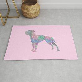 American Bulldog Vintage Floral Pattern Pastel Pink Turquoise Mint Rug