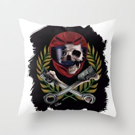 pilot skull Throw Pillow