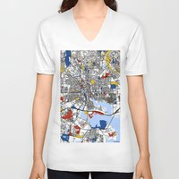 baltimore V-neck T-shirts featuring Baltimore Mondrian by Mondrian Maps