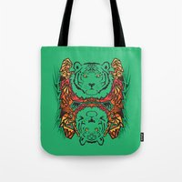 tigers Tote Bags featuring Tigers by Ornaart