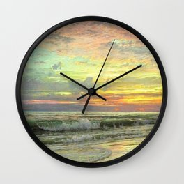Coastal Newport, Rhode Island Landscape Painting by William Trost Richards Wall Clock