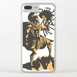 perseus holding the head of the medusa Clear iPhone Case