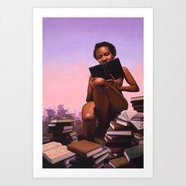Woman reading stacks of books - Titled: Pornography For Sapiosexuals Art Print