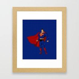 Man of Steel - Toy Building Bricks Framed Art Print