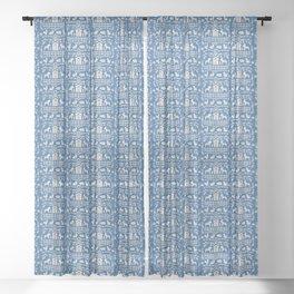 Dala Farm in Blue Sheer Curtain