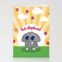 lsd Stationery Cards featuring LSD Elephant by flydesign