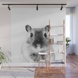 Black and White Hamster Wall Mural