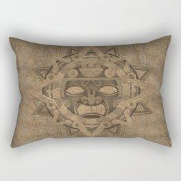 Aztec Sun God - Golden Rectangular Pillow