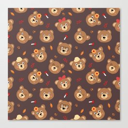 Brown Bear Heads Repeating Pattern Canvas Print