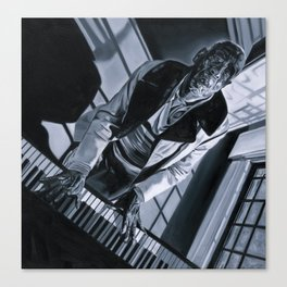 Blues Man With Piano Canvas Print