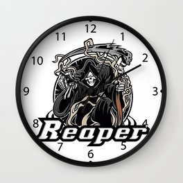 Illustration of grim reaper on white background Wall Clock