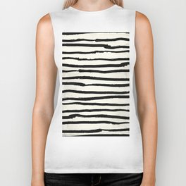 Tribal Stripes Black Earth on Ivory Cream Biker Tank