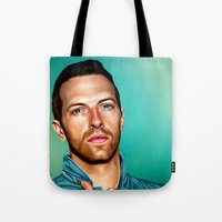 coldplay Tote Bags featuring Blue Eyes by tillieke