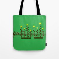 music notes Tote Bags featuring Music notes garden by Picomodi