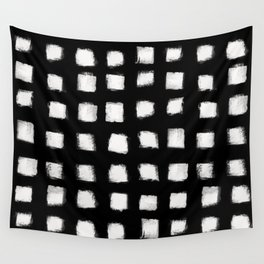 Polka Strokes - Off White on Black Wall Tapestry