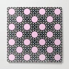 Geometric Pattern - Pink & Light Blue Metal Print