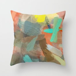 splash brush painting texture abstract background in orange brown blue yellow Throw Pillow