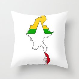 Myanmar Burma Map with Flag #2 Throw Pillow