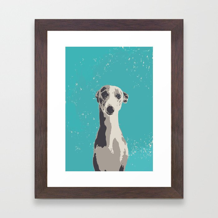 Greyhound sad art print Framed Art Print